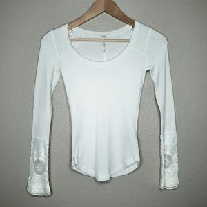 EUC - Free People lace trimmed thermal